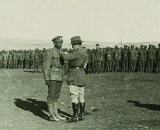 BWIR man in Palestine receiving award from General Chaytor